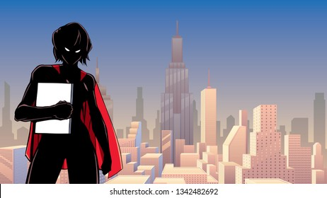 Illustration of powerful superheroine holding book, magazine or comics.