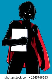 Illustration of powerful superheroine holding book, magazine or comics. You can use the copy space on the cover as you wish.