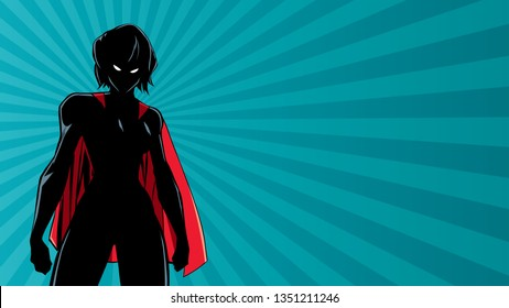 Illustration of powerful superheroine on abstract background.