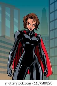 Illustration of powerful superheroine posing on city background.