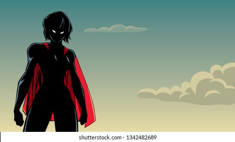 Illustration of powerful superheroine posing on sky background.