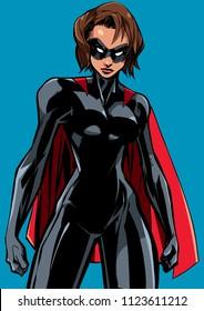 Illustration of powerful superheroine ready for battle.