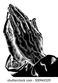 An illustration of praying hands inspired by Albrecht Durer's 1508 study