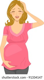 Illustration of a Pregnant Woman Experiencing a Headache