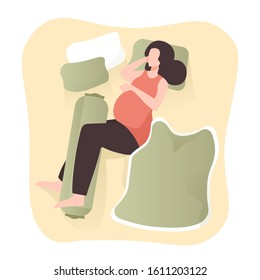Illustration of a pregnant woman sleeping