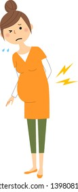 It is an illustration of a pregnant woman who is hurting with backache.