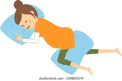 It is an illustration of a pregnant woman who sleeps in the sims' position.