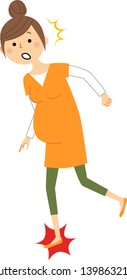 It is an illustration of a pregnant woman who stumbles.