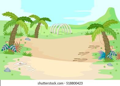 Illustration of a Prehistoric Scene Featuring Palm Trees and Dinosaur Bones