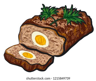 illustration of prepared meat loaf with egg on a plate