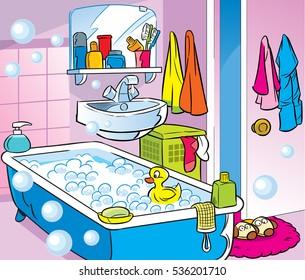 Bathroom Cartoon Images Stock Photos Amp Vectors Shutterstock