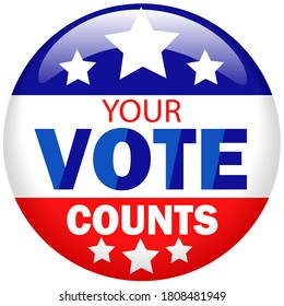 Illustration of the press button of presidential election campaign of USA your vote counts