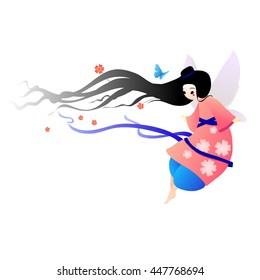 Illustration pretty fairy in a pink dress with flowers and butterflies flying. Suitable for greeting cards or birthday.