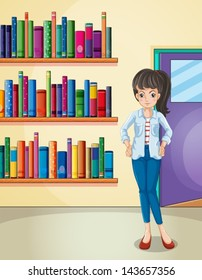 Illustration of a pretty girl in the library
