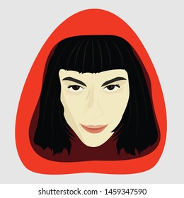 Illustration of a pretty girl with a red hood. Tokyo from La Casa de Papel (Money Heist) Vector