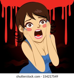 Illustration of a pretty girl screaming over bloody background in Halloween holiday party