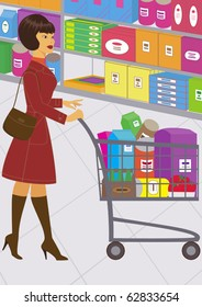 illustration of pretty woman, who is shopping