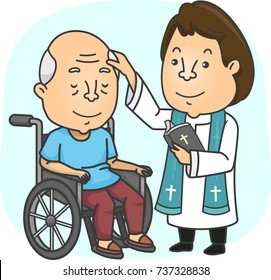 Illustration of a Priest with a Bible Anointing a Sick Senior Sitting in His Wheelchair