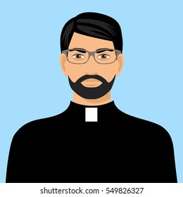 illustration of a priest icon flat design. Cartoon illustration of priest vector icon for web