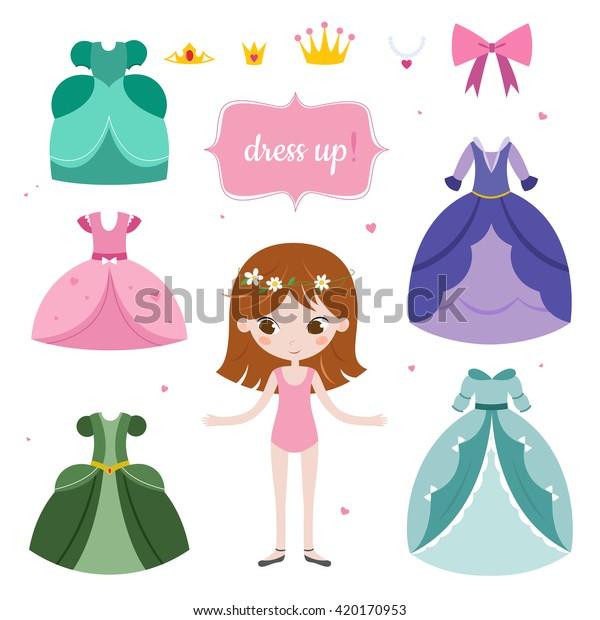 Illustration of princess with beautiful set. Princess dress up game.