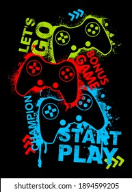 Illustration print for t-shirt with game joystick. Vector illustration