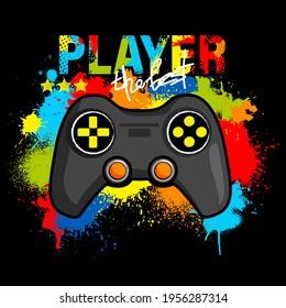 Illustration print for t-shirt with game joystick. Vector illustration