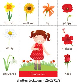 Illustration of printable flashcard for flowers and little girl smelling flower