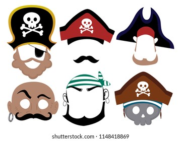 Illustration of Printable Pirate Masks from Captain to First Mate to Skull