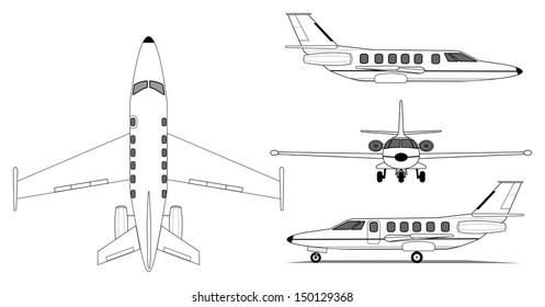 Illustration private jet airplane silhouette stock vector 2018 a illustration of private jet airplane malvernweather Choice Image
