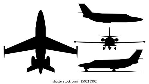A illustration of private jet airplane silhouette