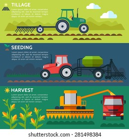 Illustration of the process of growing and harvesting crops. Equipment for agriculture. Vector
