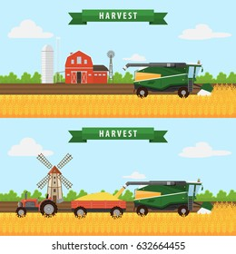 Illustration of the process of  harvesting crops. Equipment for agriculture. Farm, combine harvester, tractor.Harvesting wheat. Vector illustration flat