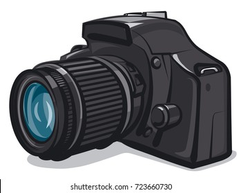 illustration of professional photo camera on white background