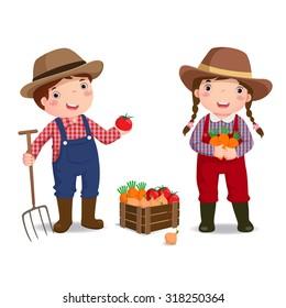 Illustration of profession's costume of farmer for kids