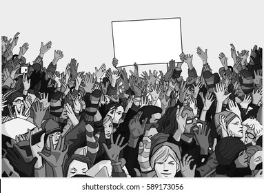 Illustration of protesting crowd with raised hands and empty banner in grey scale