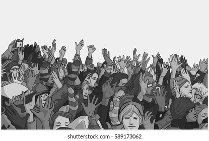Illustration of protesting crowd with raised hands in grey scale