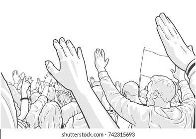Illustration of protesting crowd with students and blank flag in black and white