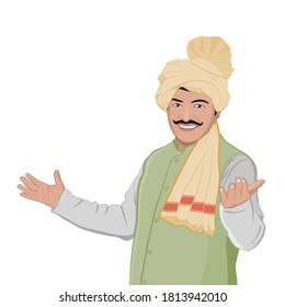 Illustration of Proud Happy Indian farmer in his green farm.