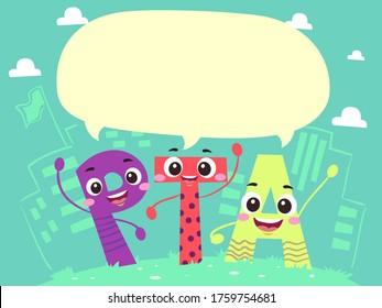 Illustration of PTA Letters for Parent Teacher Association with Blank Speech Bubble