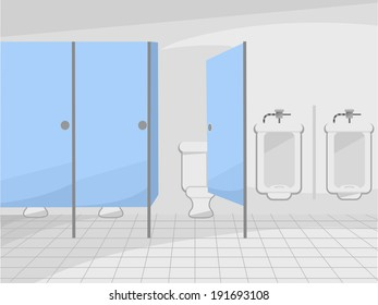 Illustration of a Public Restroom with Cubicles and Urinals