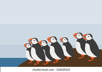 Illustration of the puffins family on nordic island
