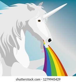 Illustration puking Unicorn for the creative use in graphic design