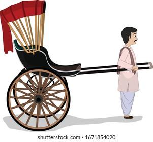 illustration of pulled rickshaw vector