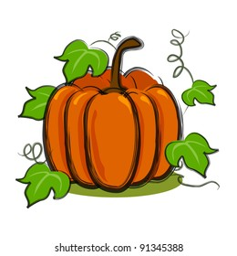 illustration for pumpkin with vines in art brush and isolated in white background.