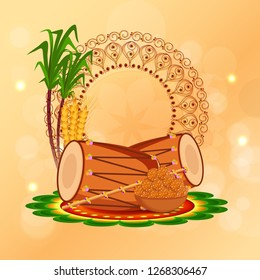 Illustration Of Punjabi Festival Happy lohri celebration Background With Bonfire And Dhol.