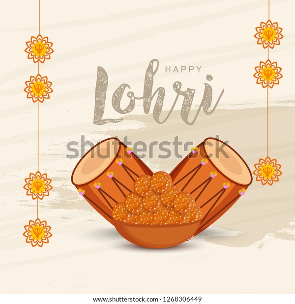 Illustration Punjabi Festival Happy Lohri Celebration Stock Vector