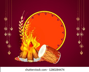 Illustration of punjabi festival lohri  background.
