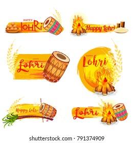 Illustration of punjabi festival lohri Banner background.