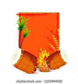 Illustration Of Punjabi Festival Lohri Card Background