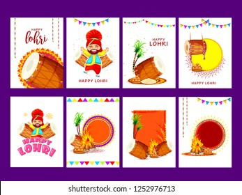 Illustration Of Punjabi festival lohri celebration poster,banner or invitation template design set,easy to edit.